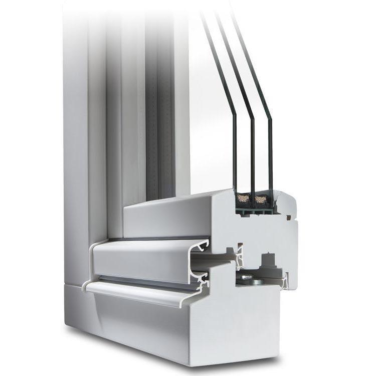 Balkontür Holz Classic IV 78 Profilecke im Farbton Weiß