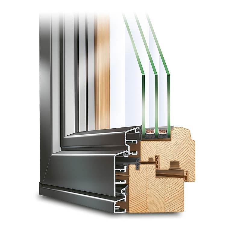 Fenster Holz-Alu IDEALU Trendline IV 78 halbflächenversetzt