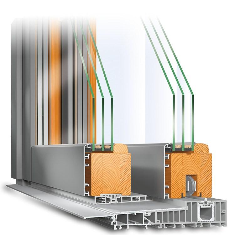 Hebeschiebetür Holz-Aluminium Querschnitt IV 78