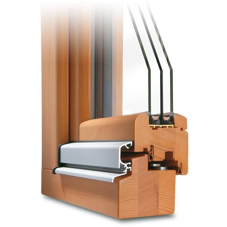 Holzfenster Kiefer Lasur Nussbaum in runder Optik