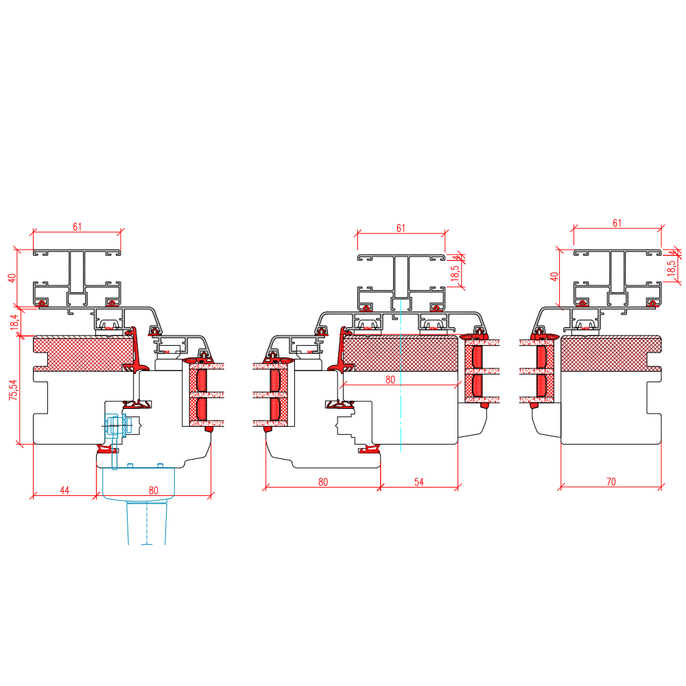 ECO Idealu Classicline PSK - Aufsatzrollladen Horizontalschnitt