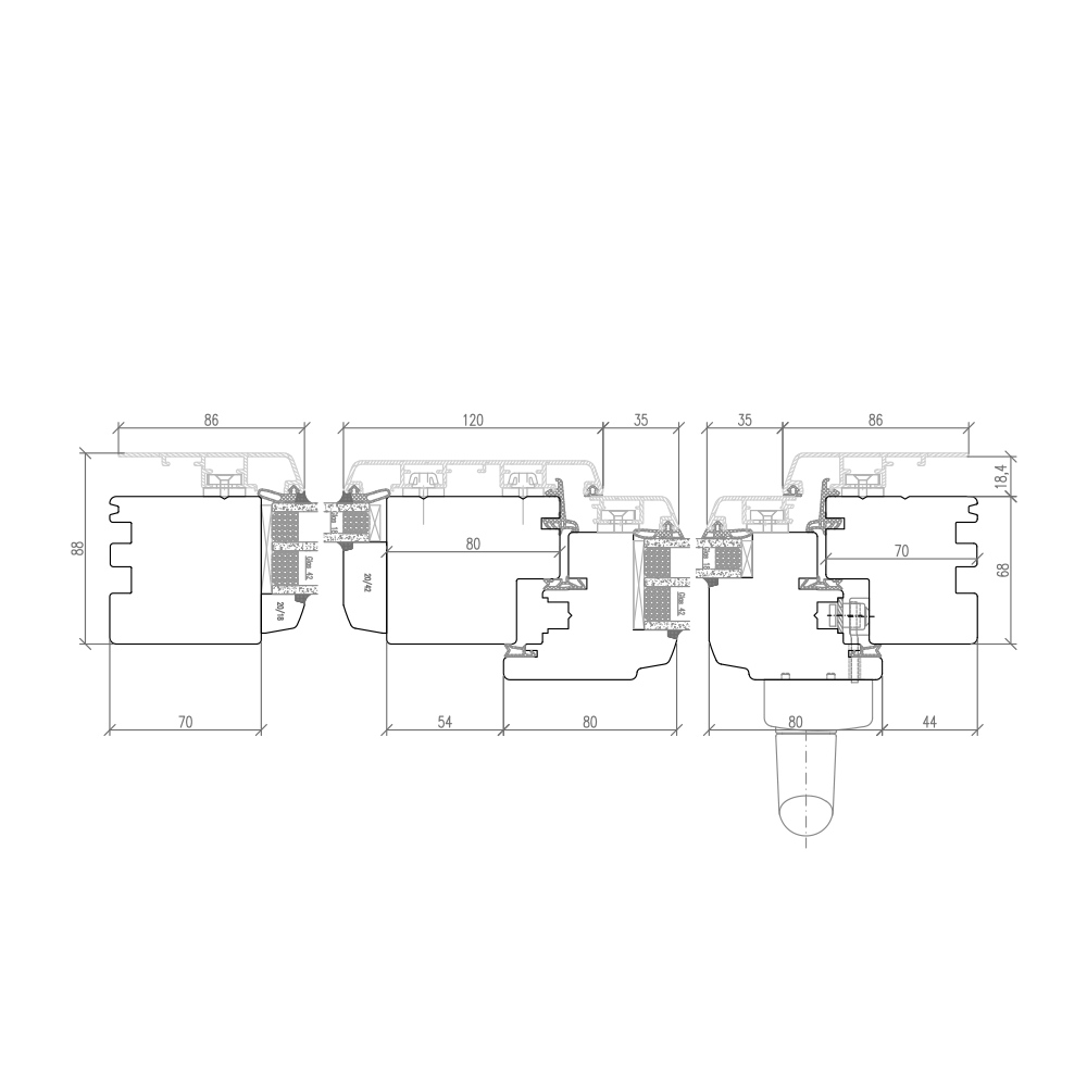Idealu Classicline - Detail Vertikalschnitt
