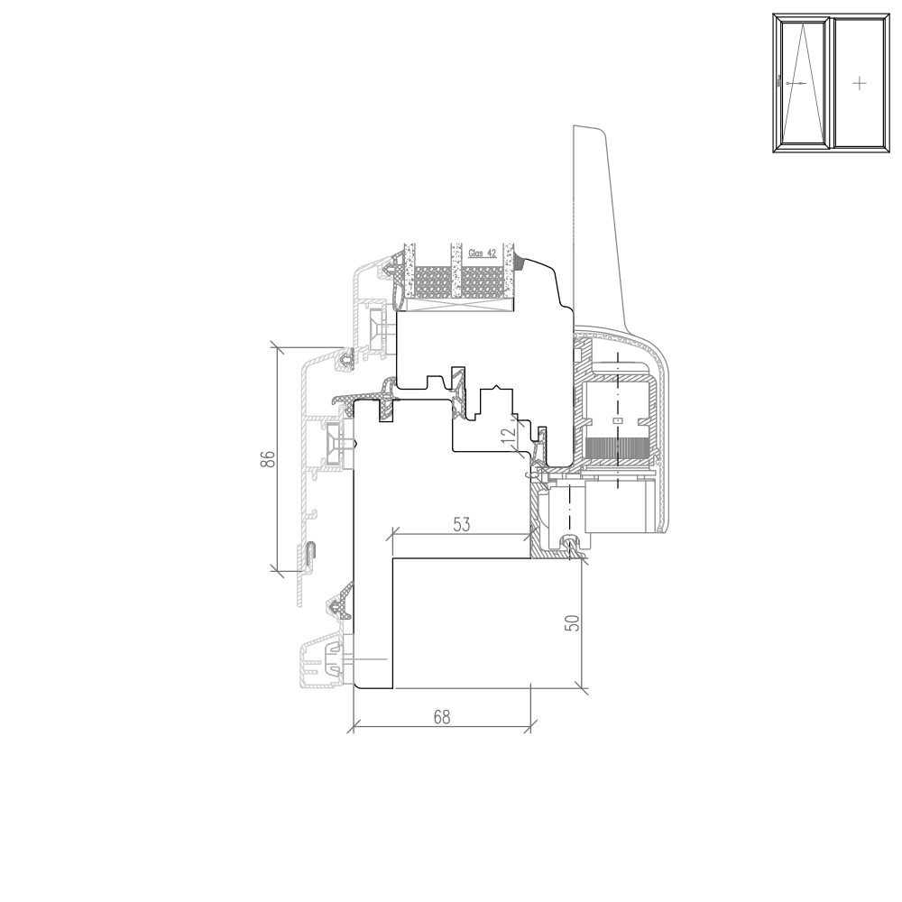 Idealu Classicline PSK Fräsung für Altbau - 50mm