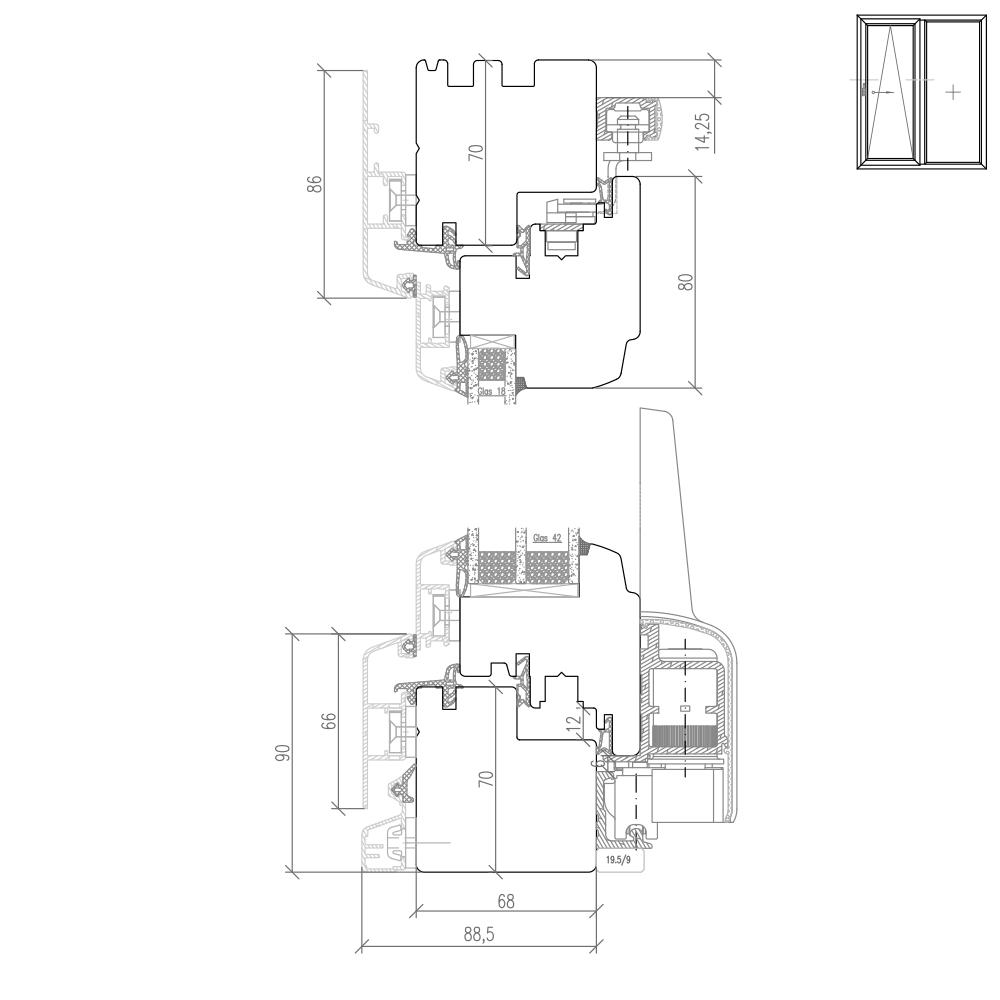 Idealu Classicline IV 68 - Detail Höhenschnitt