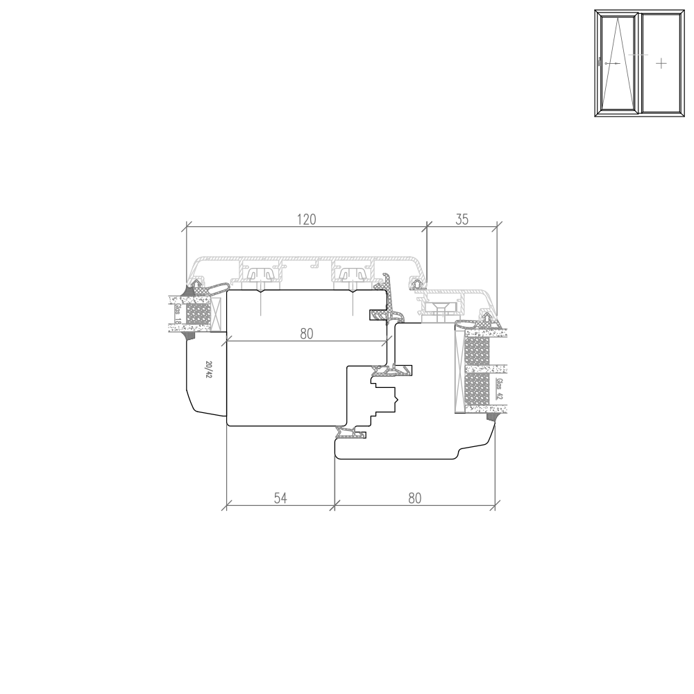 Idealu Classicline IV 68 - Pfostendetail