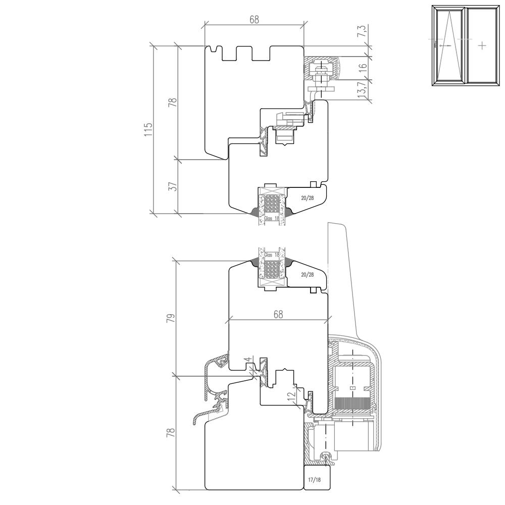 psk t ren holz detailzeichnungen cad pl ne bei fensterversand. Black Bedroom Furniture Sets. Home Design Ideas