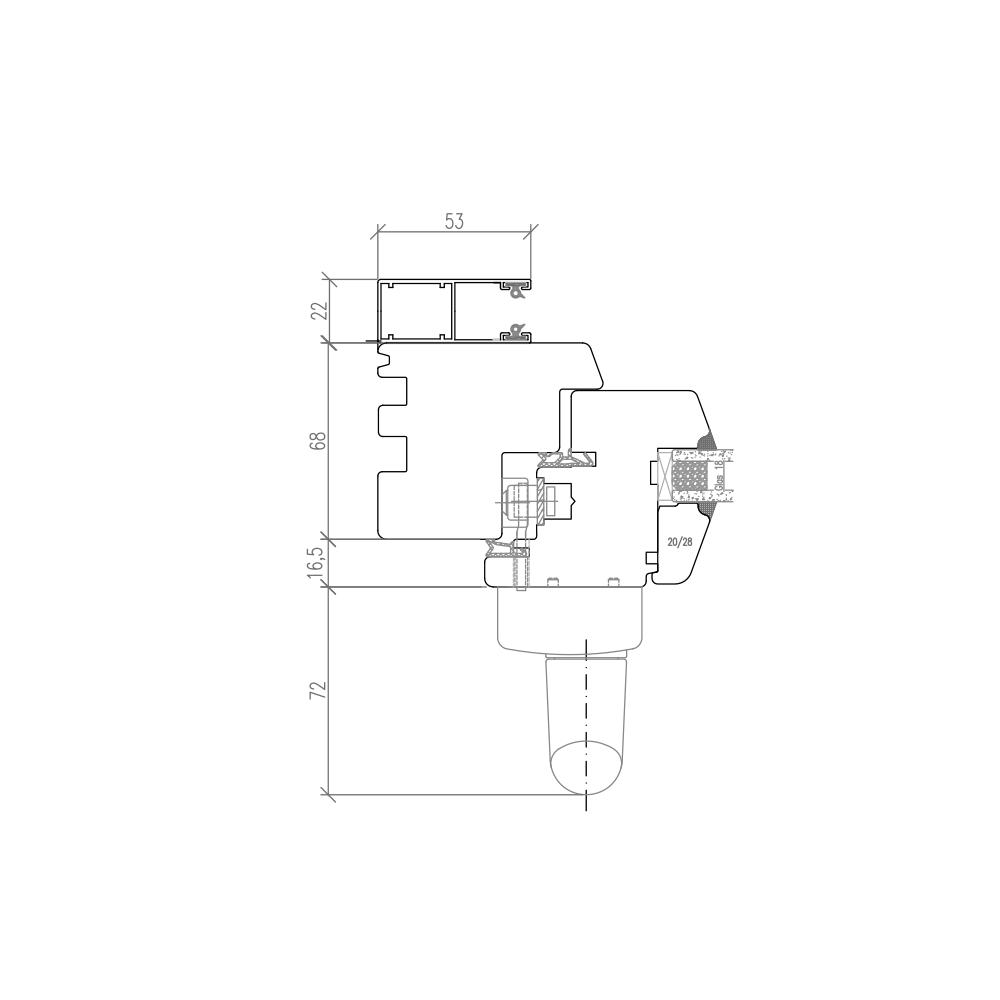 IV 68 Holz PSK mit Vorbaurollladenschioene Horizontalschnitt