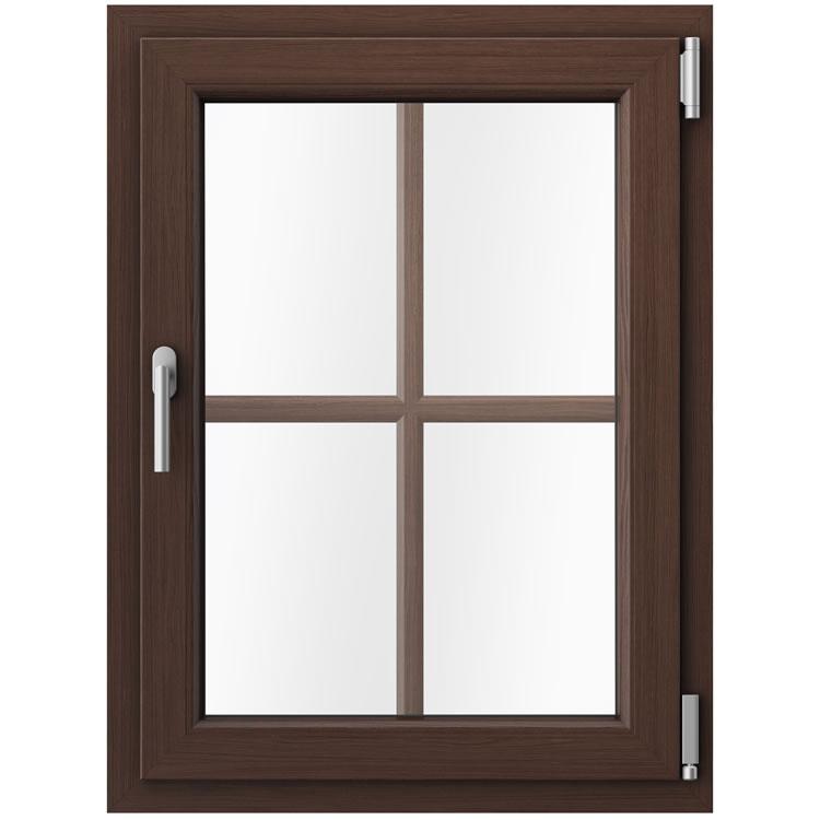 Kunststofffenster braun Mooreiche Außenansicht