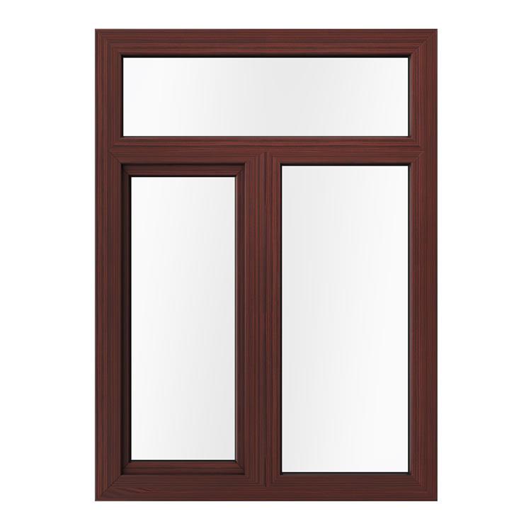 Kunststofffenster zweiflügelig in Holzoptik Mahagoni Außenansicht
