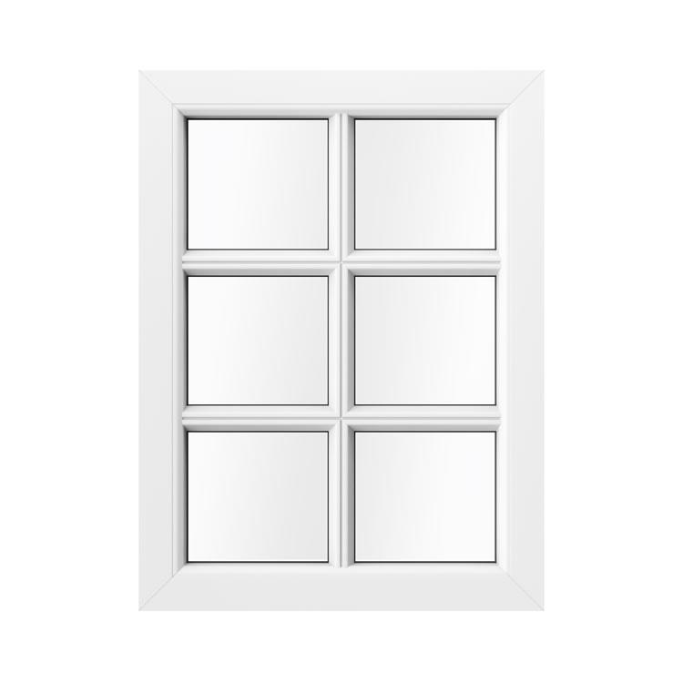 Kunststofffenster Holzoptik mit Sprossen Innenansicht Weiß