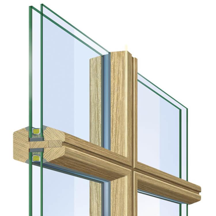 Glasteilende Sprosse Holz