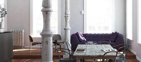 Wohnzimmerfenster aus Holz