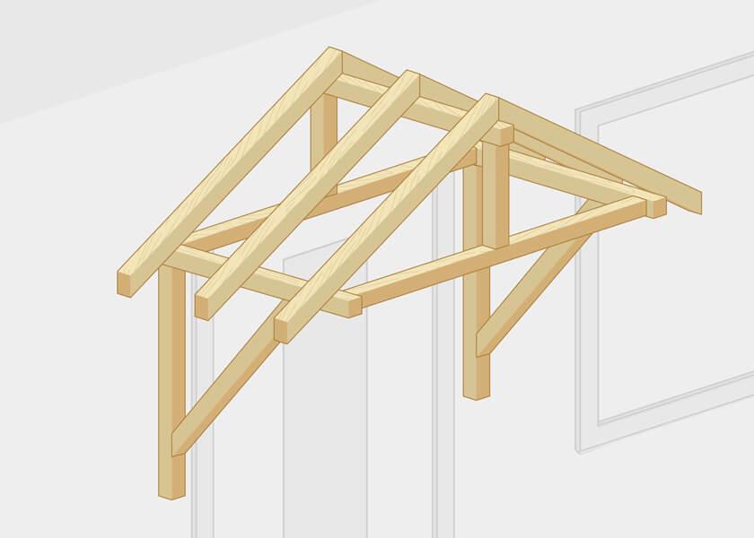 Sattelvordach Konstruktion Holz