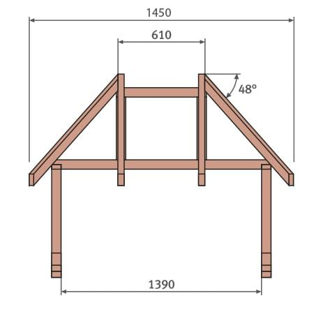 Walmvordach Holz Konstruktion