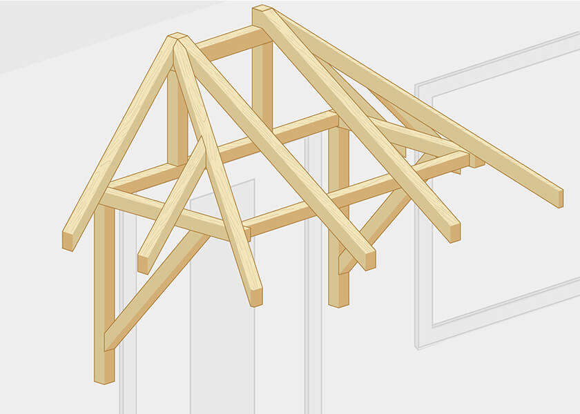Walmvordach Konstruktion Holz