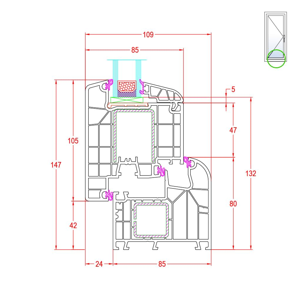 detailzeichnungen kunststofffenster ideal 8000. Black Bedroom Furniture Sets. Home Design Ideas