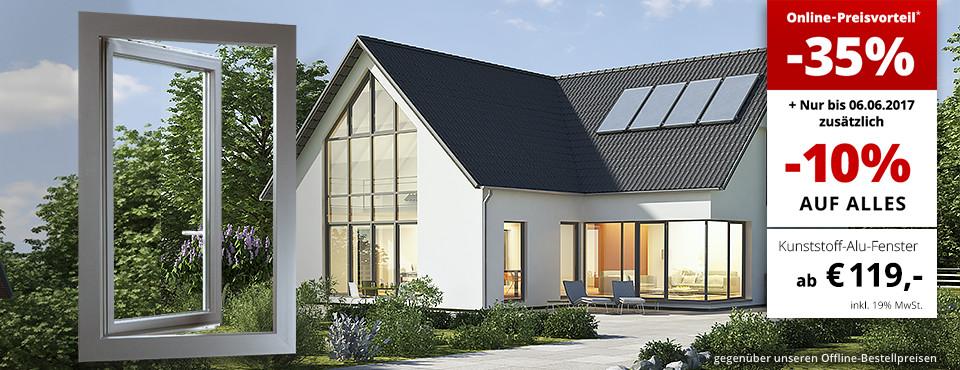 Haus mit Fenstern aus Kunststoff-Aluminium