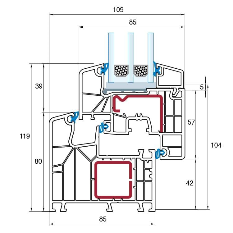 Aluplast ideal 8000 premium profil system mit 6 kammern for Fenster detail schnitt