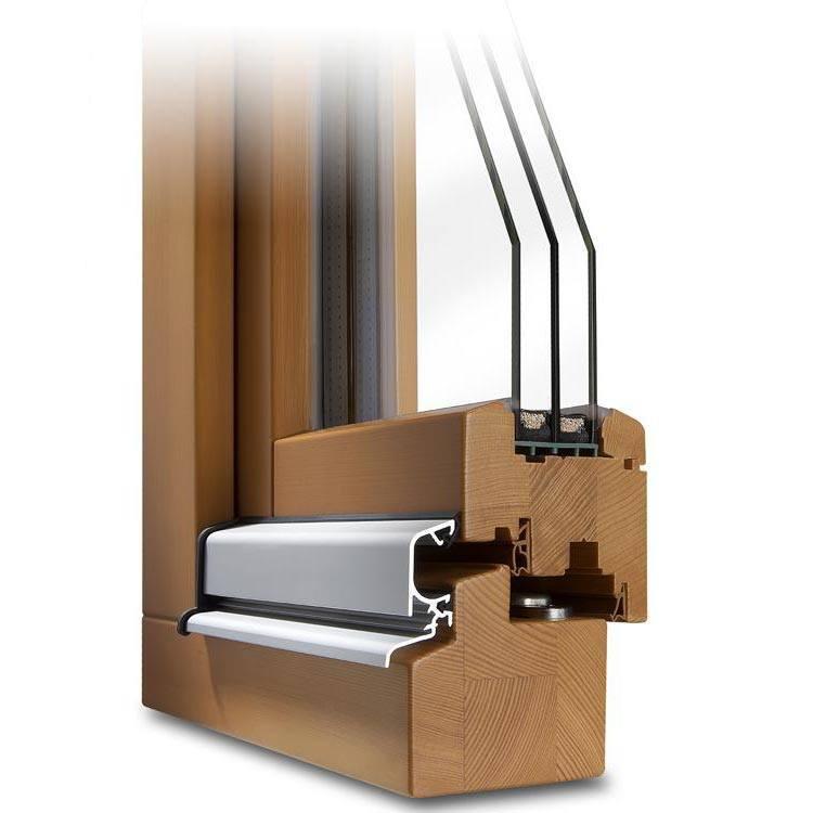 Holzfenster CLASSIC 78 Profilecke mit Regenschiene im Farbton Kiefer