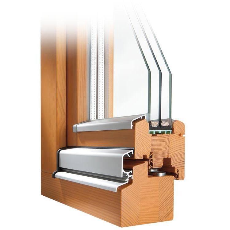 Holzfenster CLASSIC 78 Profilecke mit Regenschiene und Flügelabdeckprofil im Farbton Kiefer