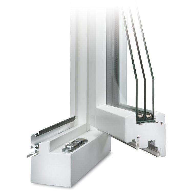 Holzfenster CLASSIC 78 Profilecke geöffnet mit Regenschiene im Farbton Weiß