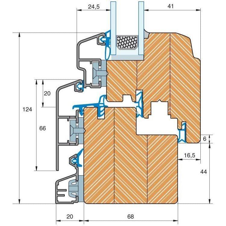 Holz-Alu Fenster IV Trendline 68 Detailzeichnung