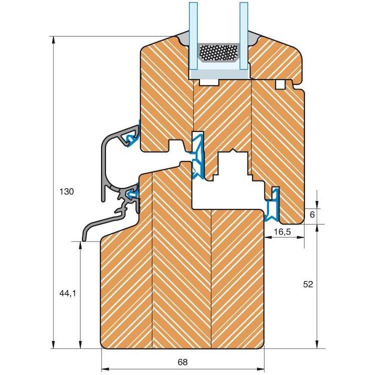Balkontür Holz Profil IV 68 Schnittzeichnung