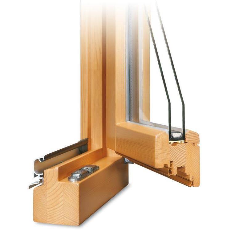 Holzfenster CLASSIC 68 Profilecke geöffnet mit Regenschiene im Farbton Kiefer