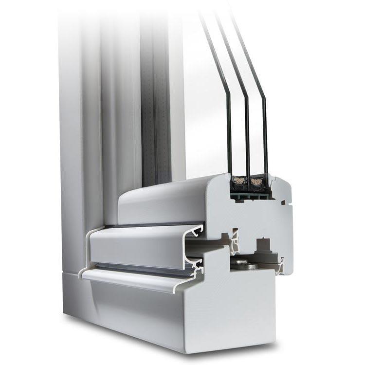 Holzfenster Profilschnitt in Weiß